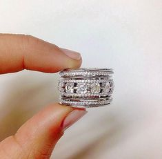 How To Find Cheap Diamond Rings - Jewelry Daze Wedding Rings Solitaire, Wedding Rings Vintage, Diamond Engagement Rings, Wide Band Diamond Rings, Wide Diamond Wedding Bands, Stackable Wedding Bands, Solitaire Diamond, Engagement Bands, Antique Rings