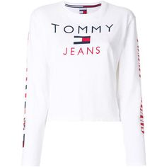 Tommy Jeans flag print longsleeved T-shirt ($63) ❤ liked on Polyvore featuring tops, t-shirts, sweaters, white, cotton t shirts, white cotton tops, cotton long sleeve tee, white cotton tee and white long sleeve top