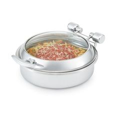 Vollrath 46125 Intrigue Glass Top S/S 6 Qt. Induction Chafer Model: 46125. Stainless Steel Trim with Stainless Steel Food Pan. Durable and Easy Cleaned Mirror Finish 18 / 8 Stainless Steel Food Pan. Dimensions: 15½ x 3-5/32 Inches. Food Can Be Viewed Without Opening - Food Quality is Maintained.  #Intrigue #BISS