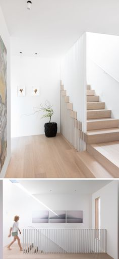 These modern stairs have slatted steel guards that intersect Nordic Oak treads. At the top of the stairs, there's a skylight that provides natural light to the landing. Modern Stair Railing, White Staircase, Modern Stairs, Staircase Design, Staircase Ideas, Railing Ideas, Oak Stairs, House Stairs, Basement Stairs