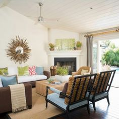 Corner fireplace, armchairs, sectional. Mirror image of your room