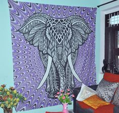 Purple Elephant Tapestries College Dorm Decor Psychedelic Wall Hanging Bohemian Tapestries Elephant Tapestry Hippie Tapestry Wall Tapestries Indian Tapestry Wall Hanging * Details can be found by clicking on the image. (This is an affiliate link) #Tapestries