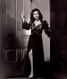 "1940s actress Joan Bennett in sexy black negligee from ""The Woman In The Window"""