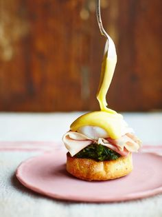 "JAMIE OLIVER'S SPINACH EGG BENEDICT ~~~ this recipe is shared with us from the book, ""jamie's comfort food"". [Jamie Oliver]"