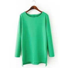 Refreshing Scoop Neck Candy Color Long Sleeve T-Shirt For Women found on Polyvore featuring women's fashion, tops, t-shirts, scoopneck tee, longsleeve tee, scoop neck tee, long sleeve scoop neck top and green long sleeve tee