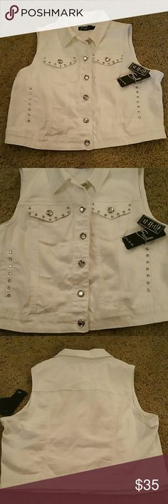 Earl Jean  Free to be... Vest Embellished with diamond buttons. Earl Jeans Jackets & Coats Vests