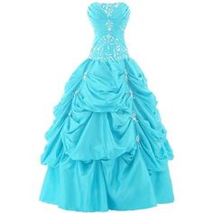 Sunvary Ball Gown Strapless Appliqued Ruffle Long Prom Gowns Quinceanera Dresses