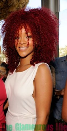rihanna with big, poofy, curly hair!!