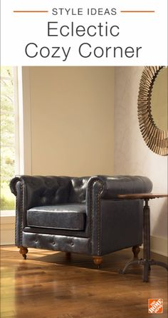 Create an eclectic, cozy corner in your room by mixing traditional furniture and contemporary decor. An oversized tufted leather chair contrasts beautifully with geometric wall decor. Touches of greenery combine with metallic elements to create a look that's on-trend and fit for any design scheme. Click to explore this stylish space.