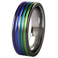 Kompressor Black Diamond Plated Colored Titanium Ring