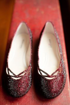 Wedding Shoes -- Red Rhinestone Covered Flats