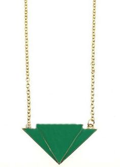 Green Triangle Gold Long Chain Necklace