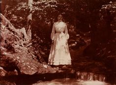 Laura Ingalls Wilder in the ravine at Rocky Ridge Farm in 1900 at the age of 33. (Hoover Archives)  The family worked the land and turned Rocky Ridge in to a prosperous enterprise.  In addition to wheat and apples, the Wilder's added poultry and dairy.  Laura became a bit of an expert on farming and was invited to speak to groups all around the state.