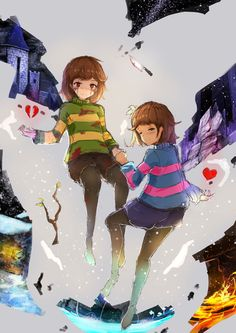 undertale frisk x chara by on DeviantArt Undertale Amino, Undertale Game, Anime Undertale, Chara, Gorillaz, Bad Art, Toby Fox, Chef D Oeuvre, Cartoon Shows