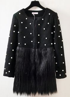 Black Long Sleeve Bead Contrast Faux Fur Coat
