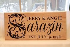 Personalized Family Name Sign Wood Custom Wedding by MillyDilly