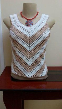 Débardeurs Au Crochet, Mode Crochet, Crochet Woman, Crochet Tank Tops, Crochet Summer Tops, Crochet Blouse, Dress Tutorials, Crochet Squares, Crochet Fashion