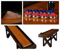 Shuffleboard Table 9 Ft. With Pucks Game Room Wood Home Indoor Furniture Rustic
