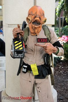 """""""It's a Trap!""""  Ghostbuster Admiral Ackbar with a trap, photo by FirstPersonShooter.---Everything about this makes me want to attempt to cosplay this."""