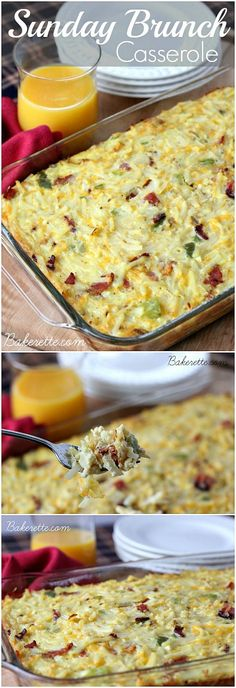 Best Recipes - This Sunday Brunch Casserole recipe is a hearty egg, hashbrown, bacon and cheese dish to feed a crowd. Make it the day of or ahead. Bakerette.com #breakfast #recipes #easy #brunch #recipe