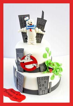Ghostbusters cake with Stay Puff, Slimer and No-Ghost.
