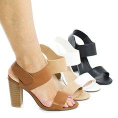 Sandra1 BlackPu Open Toe Velcro Ankle Cuff Chunky High He…