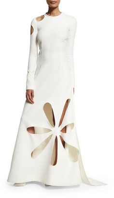 Rosie Assoulin Matisse Cutout Stretch-Crepe Gown, White