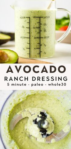 Easy 5-minute avocado ranch dressing is delicious on salads and makes for a healthy dip or sauce for veggies, wings, Mexican foods, and anything else your heart desires. It's so tasty and creamy that you'll want to dip everything in it! Paleo, Whole30, Keto and gluten-free too! Healthy Ranch Dressing, Avocado Ranch Dressing, Ranch Dressing Recipe, Ranch Recipe, Dairy Free Recipes, Gluten Free, Paleo Recipes, Healthy Dips, Healthy Food