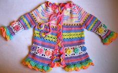 Crochet For Children: Little girl's colorful summer coat - Free pattern