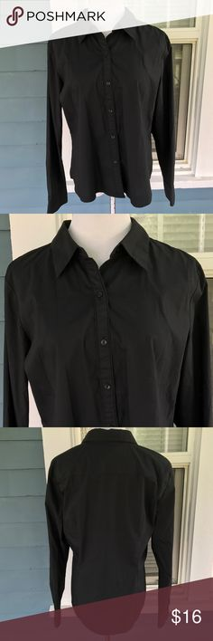"""LIZ CLAIBORNE Stretch Black Button Top LIZ CLAIBORNE Stretch Black Button Top.  Long sleeves.  Button down front.  Fitted.  Slightly rounded hemline.  Black cotton/polyester/spandex blend material.  Shoulder width 17-1/2"""".  Pit-to-pit23"""" (unstretched).  Length 23"""" (shoulder to sideseam hem).  Great condition. Liz Claiborne Tops Button Down Shirts"""