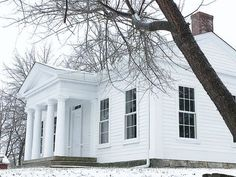 DuPont House in winter white. Greek Revival Architecture, Southern Architecture, Classical Architecture, Historical Architecture, Architecture Details, Residential Architecture, Greek Revival Home, Grand Homes, House With Porch