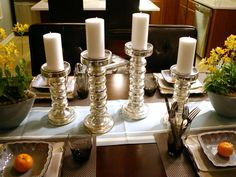 Inexpensive candle centerpieces. Gorgeous!