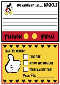 Download these free printable Cast Member Thank You Notes we designed for The Power of Moms. Visit www.powerofmoms.com/disney for their Power of Moms Disney Guide.