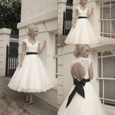 Sweetheart Lace Capped Sleeves Hollow Back A-line Tea Length Wedding Dress with Black Ribbon Sash Ivory Bridal Gown