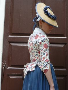 A Blue and Red Dutch Chintz Jacket, Colonial Williamsburg, June This jacket was a Christmas gift for Ashley (well,. 18th Century Dress, 18th Century Costume, 18th Century Clothing, 18th Century Fashion, Historical Costume, Historical Clothing, Rococo, Haute Couture Fashion, Fashion History