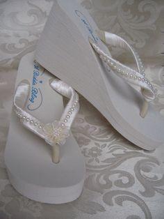 Ivory Wedge Flip Flops Ivory Flat Flip Flops Bridal by ABiddaBling, $49.99