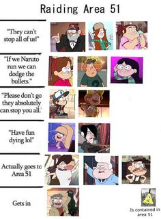 """Raiding Area 51 """"They can't stop all of us!"""" """"Please don't go they absolutely can stop you all. Libro Gravity Falls, Gravity Falls Funny, Gravity Falls Fan Art, Gravity Falls Comics, Gravity Falls Journal, Bill From Gravity Falls, Gravity Falls Secrets, Gravity Falls Anime, Gravity Falls Dipper"""