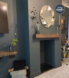 An oak mantel shelf ideal for smaller fireplaces. Handmade by craftsmen in our UK workshop. Free Delivery to UK mainland. Living Room Ideas Uk, Empty Fireplace Ideas, Cosy Living Room, Living Room Inspiration, Living Room Decor Fireplace, Lounge Decor, Interior, Log Burner Living Room, Navy Living Rooms