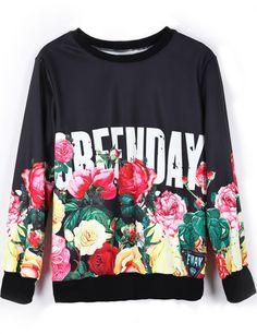 Long Sleeve Floral Print GREENDAY Sweatshirt