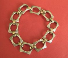 Vintage  sterling  silver  14KT yellow  gold   link  bracelet   BellaWorxJewelry - Jewelry on ArtFire
