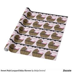 Sweet Pink Leopard Baby Shower Wrapping Paper