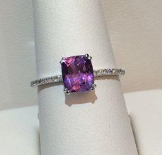 14k white gold amethyst & diamond ring!