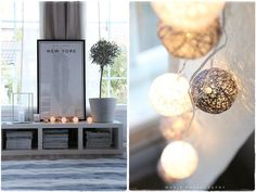 string ball lights and contemporary white styling - on valo syttynyt ikkunaas - Vaaleanpunainen hirsitalo