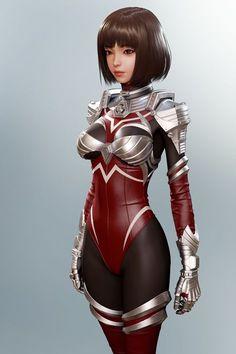 ArtStation - Metal Suit, Shin JeongHo Cyberpunk Character, Cyberpunk Art, Chica Fantasy, Fantasy Girl, Fantasy Character Design, Character Art, Superhero Suits, Female Superhero, Space Opera