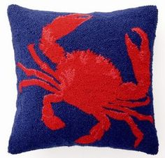 beach decor blue & red crab pillow