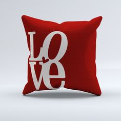 Red Love Word Throw Pillow