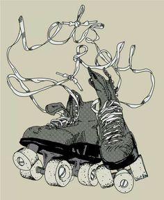 Roller skate way of life Quad Roller Skates, Track Roller, Skate Tattoo, Roller Disco, Rio Roller, Tatto Old, Roller Derby Girls, Skate Art, Skateboard Design