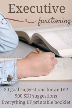 Here are 30 goal suggestions to add Executive Functioning into your child's IEP. Also includes a free printable EF booklet and over 500 SDIs for you to have more direction in giving feedback for your child's IEP. Speech Language Therapy, Speech Pathology, Speech Therapy, School Ot, School Social Work, School Stuff, School Ideas, School Tips, Public School