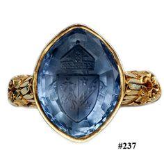 Platinum diamond intaglio crest ring Nelson Rarities, Inc