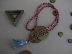 Mystic Blue Mala Tassel Necklace Plum Purple Natural Wood Buddhist Gift for Yoga Lover Spacer Beads Prayer Meditation Jewelry Gift for Yogi
